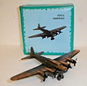 Vintage USAF Bomber Airplane Figural Die-Cast Metal Pencil Sharpener No.113