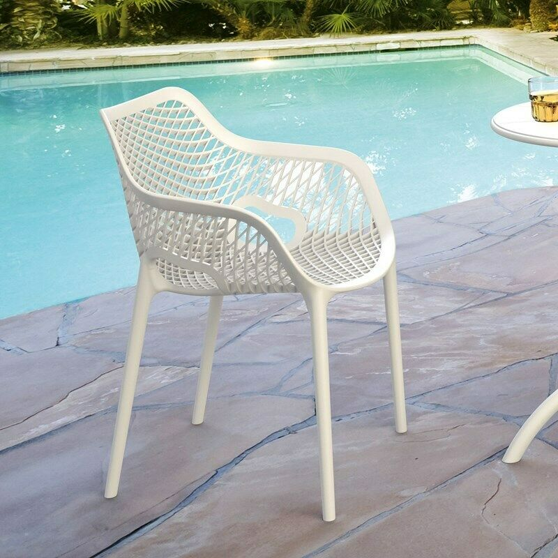White Compamia Air XL Outdoor Dining Arm Chair ISP007-WHI