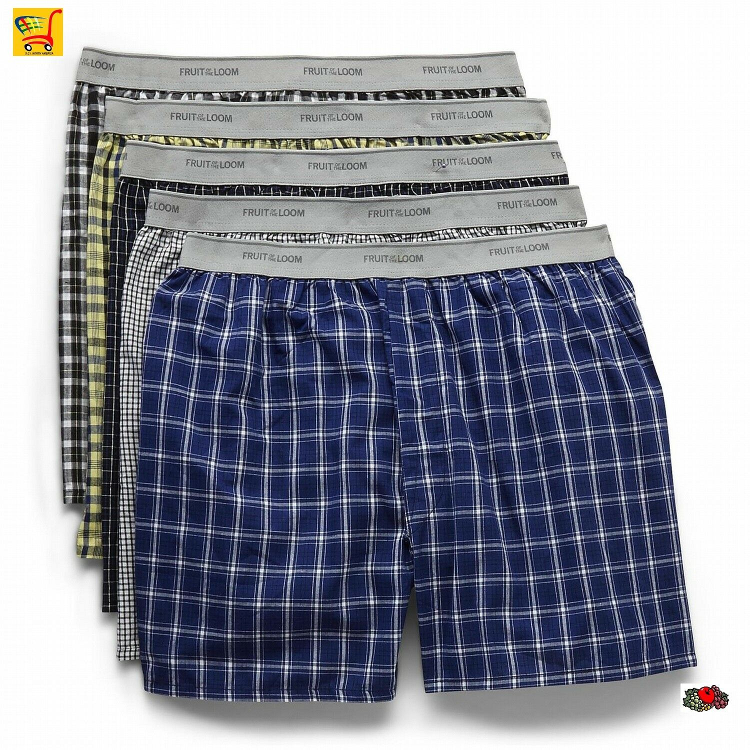Fruit of the Loom Woven Boxers Fashion Waistband 5 pk-Multicolor-XLarge