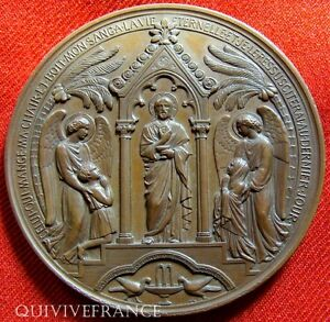 MED2660-MEDAILLE-BAPTEME-1859-COMMUNION-1870-par-OUDINET-FRENCH-MEDAL