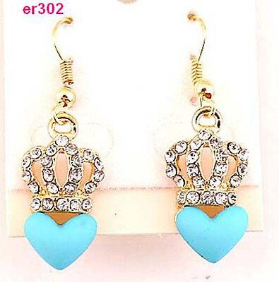 Ladys' gold plated crown clear crystal blue heart enamel eardrop earring er302