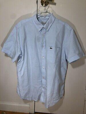 Lacoste Men/'s Classic Fit Light Blue Short-Sleeve Cotton Button Down Shirt