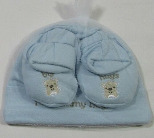 Baby Babies Boys Girls Gift Hat Booties Clothes Blue Pink Cotton 0-3 2 Piece