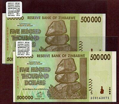 $500K P76a/&b UNC VA276.x RARE SAME BUNDLE 2008 Zimbabwe 100-Trillion Series
