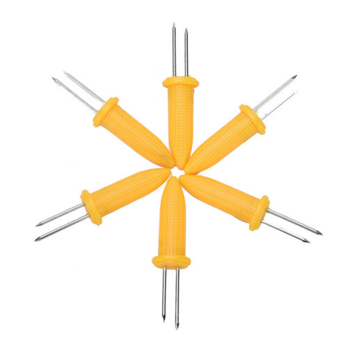 6pcs Corn on the Cob Holders Skewer Needle Prong Fork Pick For BBQ Barbecue、Nice