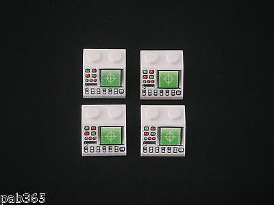 Lego 4 white slopes 1 x 2 x 2//3 w Dark Blue police pattern NEW Neufs REF 19647