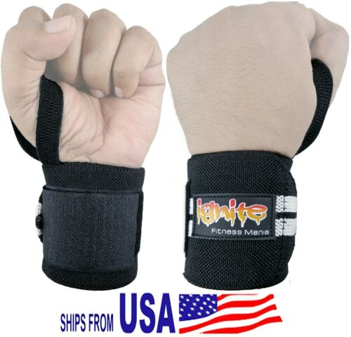 IGNITE Padded Wrist Wraps Weight Lifting Training Gym Straps Support Grip Gloves