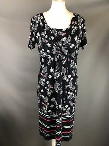 M-amp-S-Per-Una-Size-12-Navy-Blue-Jersey-Stretch-Dress-Shell-Floral-Print-Stripe