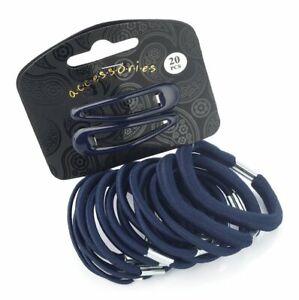 20 Navy Hair Elastics Hair Slides Bands Ponytail Accessories Uk Girls Women 5055485282811 Ebay