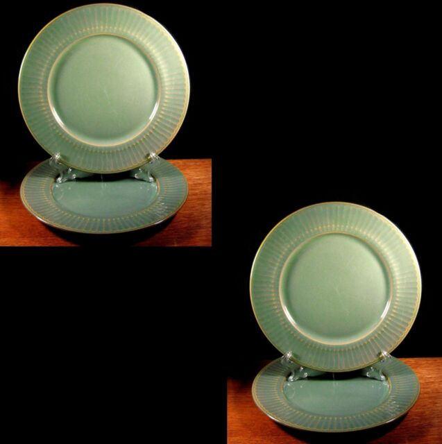 Coventry Parthenon Green 4 Dinner Plates Ribbed Stoneware Fast Shipping Retired