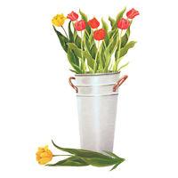 Tatouage Tulips In Metal Pail Dry Rub Transfer