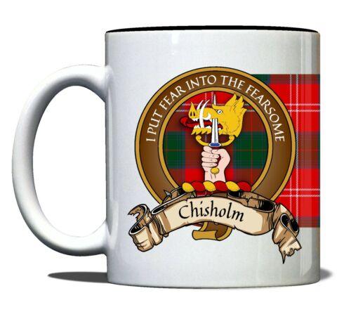 Chisholm Scottish Clan Tartan 11oz Mug With Crest and English Motto