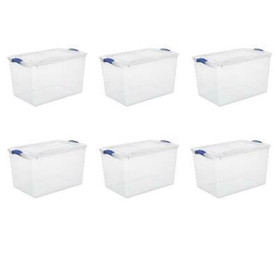Latch Storage Box 66 Quart Clear Plastic Container Bins ...