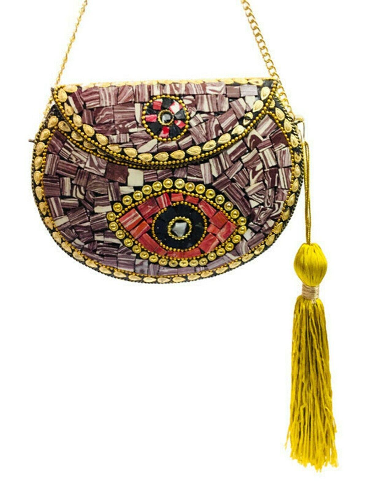 Tassels bag metal clutch Indian Ethnic Metal Bag mosaic clutch Antique Wallets