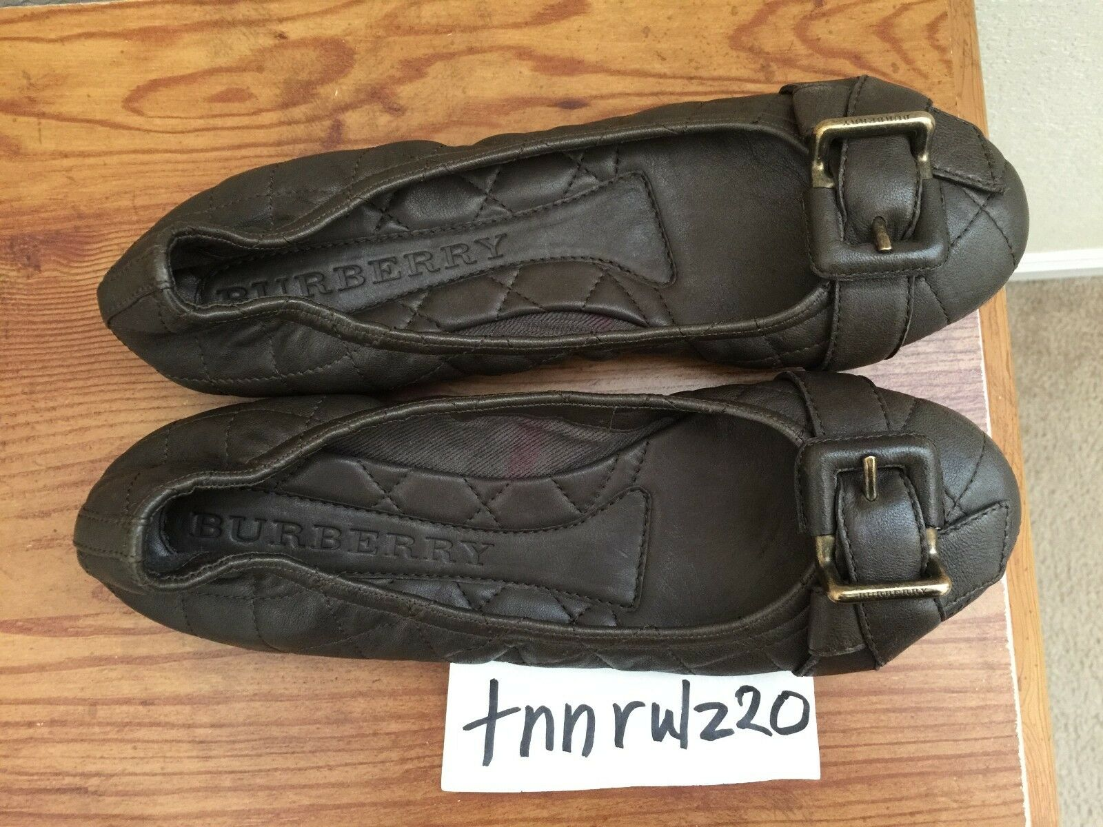 New Authentic Dark Khaki BURBERRY BURBERRY BURBERRY Quilted Flats Ballet shoes 38 7c6f7c