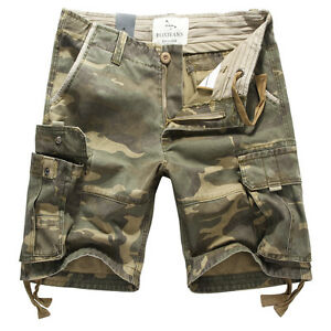 Mens-FOX-JEANS-Elton-Casual-Camo-Military-Army-Cargo-Work-Shorts-SIZE-44