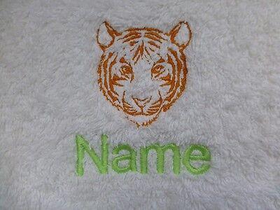 Tigre Tête Design Brodé sur Serviettes, Bain Robes avec Personnalisé Nom | eBay