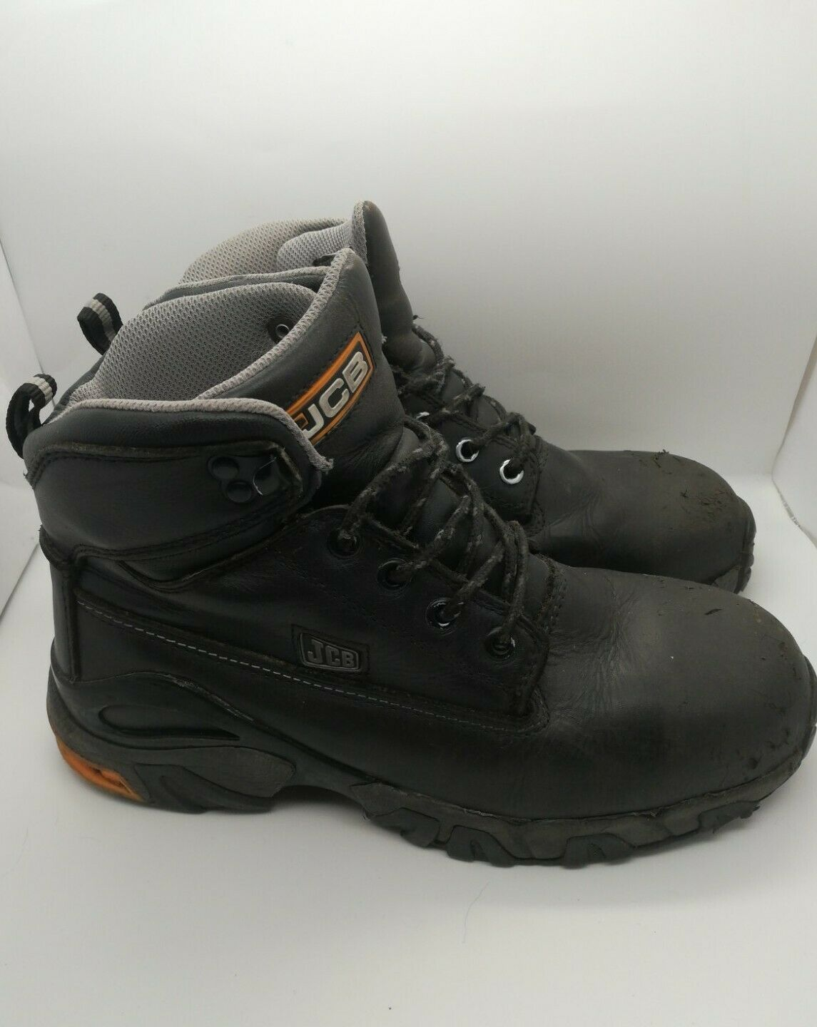 JCB 4x4 JF0040 MENS BLACK LEATHER SAFETY WORK BOOTS STEEL MIDSOLE & TOE CAP