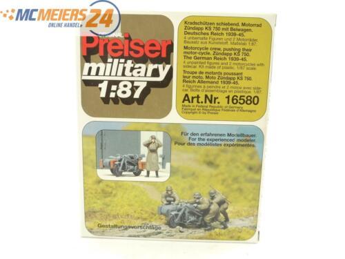 E135 Preiser Military H0 16580 Figuren-Bausatz Kradschützen mit Motorrad *NEU*