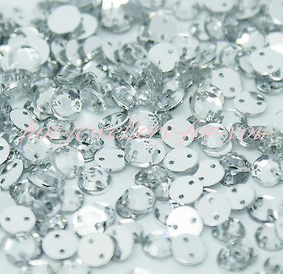 Rhinestone Crystal Sewing Diamante Gem Acrylic Silver Flatback 2 Holes sew on