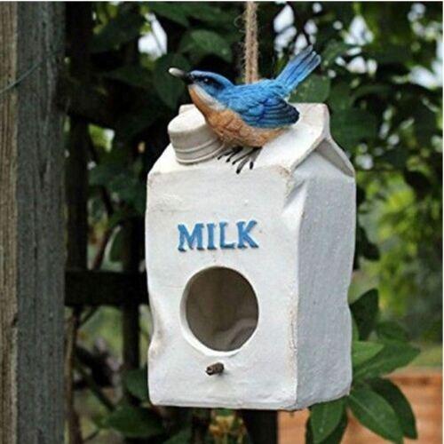 POLYRESIN DECORATIVE MILK CARTON BIRD HOUSE NEST HANGING NOVELTY NESTING BOX