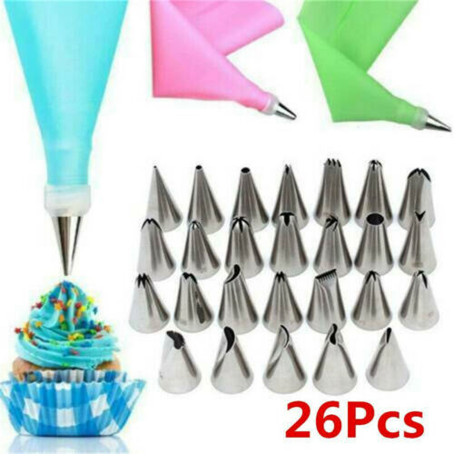 26 PCS//Set Silicone Cream Pastry Bag Kitchen Cake Piping Nozzle Decorating Tool