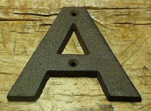 """Cast Iron Industrial LETTER T Sign Rustic Brown 5/"""" tall Alphabet"""