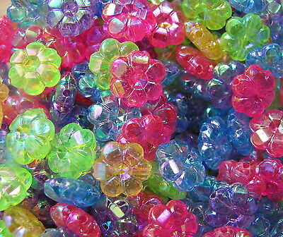 50 flower daisy 10mm faceted AB iridescent plastic beads cute fun choose colour