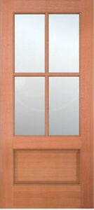 Exterior Meranti Mahogany 4 Lite Stain Grade Sash Solid Wood Entry on
