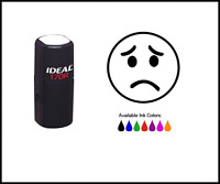Sad Face Round Rubber Stamp - Message Stamps (stock190) - Trodat Ideal 170r