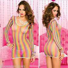 Sexy Longsleeve Diamond Fishnet Rainbow Stripe Mini Dress Clubwear Rave Bodycon