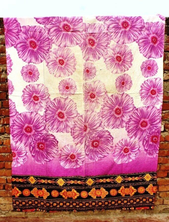 Quilt Blanket Indian Vintage Reversible Cotton Kantha Bedspread Patchwork VH-375