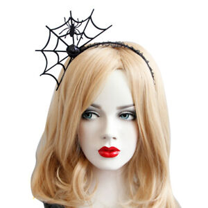 Headband-Gothic-Halloween-Black-Felt-Spider-Web-Lace-Crown-Costume-Ball-Hairba-V