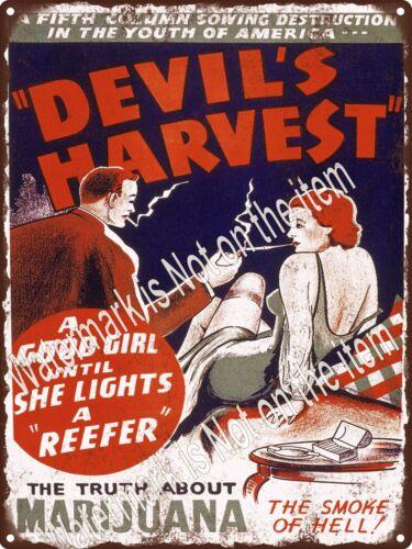 "Marijuana Devils Harvest Reefer Propaganda Weed Smoke Metal Sign 9x12/"" A512"