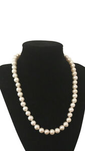 Classic-White-Freshwater-Pearl-Necklace-18in-8-5-9-5mm-silver-magnetic-clasp