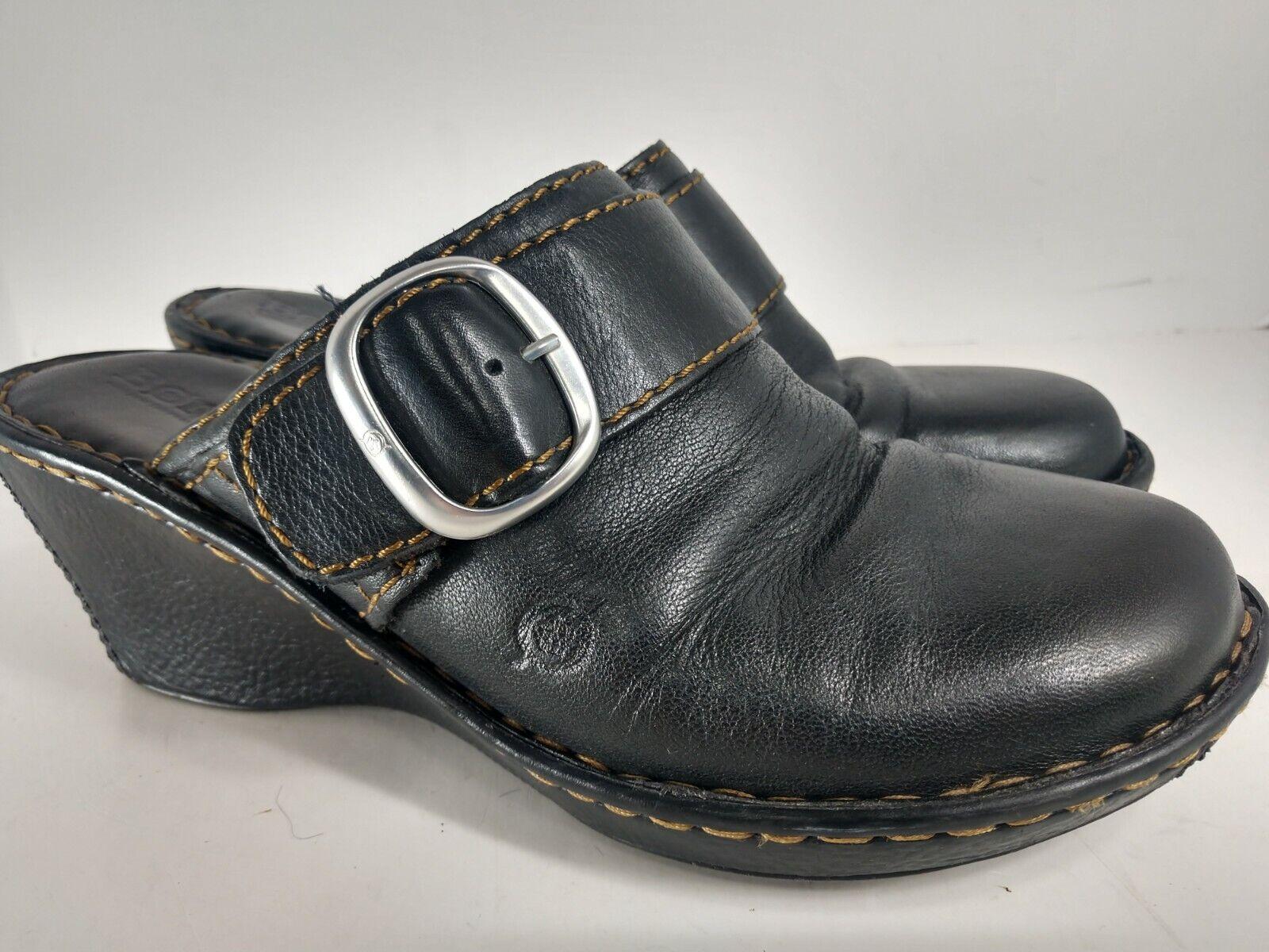 Born Concept Black Leather Slides Mules Clogs - Women's Size 10 US