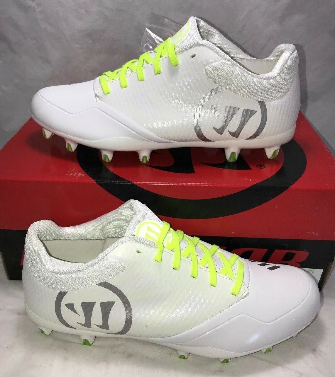 Warrior Mens Size 10 Burn 9.0 Lacrosse Lax Cleats White Volt Low New
