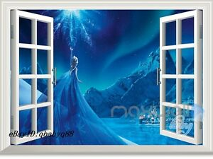 Image is loading Disney-Frozen-Elsa-Castle-3D-Window-Wall-Decals- & Disney Frozen Elsa Castle 3D Window Wall Decals Removable Stickers ...