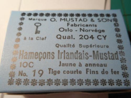 Mustad /& Son #19 fly tying CROCHETS HAMECONS Irish minuscule fine fil en vrac 204CY