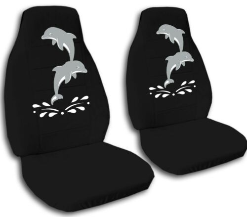 2 Front Airborne Dolphins Velvet Seat Covers with 14 Color Options