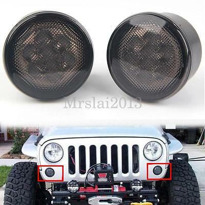 2x LED Smoked Front Indicator Turn Signal Lights For Jeep Wrangler JK 2007-2016