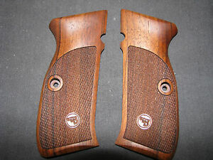 Details about CZ 75 SP-01 Shadow ONLY Fine English Walnut Checkered Pistol  Grips w/logo SWEET!