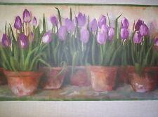 Tulips /& Floral on Brown Wallpaper Border BD41655B