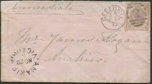 Victoria-1872-Nov-27-bearing-2d-adhesive-Geelong-to-034-ANAKIE-034-with-arrival-cds