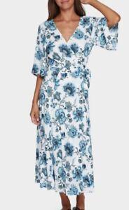 Gorgeous TIGERLILY Aliki Blue Maxi Wrap Dress Size 12 NWT RRP $250