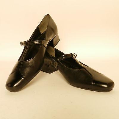 Van Dal Skip T Bar Court Shoes Black Leather//Patent EE Fitting