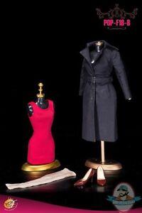 Pop Toys 1/6 Women's Single Breasted Raincoat POP-F18 B Black