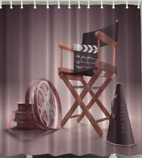 Director Fabric SHOWER CURTAIN Chair Movie Reels Slate Board Clapper Waterproof