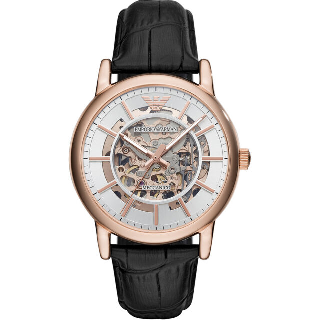 2019 NEW Emporio Armani Men's Automatic Black Leather Rose Gold Watch AR60007