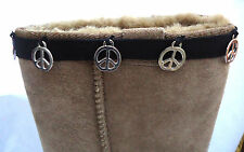 NEW BOOT CUFFS TOPPERS HUGS. BLACK & SILVER PEACE. PERFECT PRESENT OR GIFT.